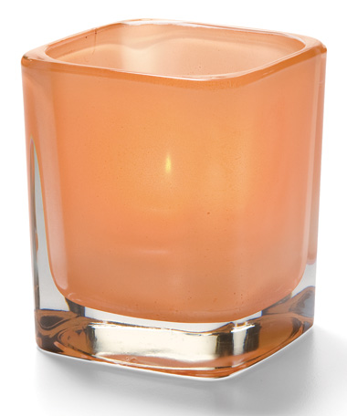 SATIN TERRA COTTA-  GLASS TETRA  VOTIVE LAMP