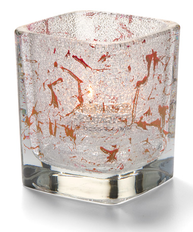 SPLASH RED-TETRA  GLASS VOTIVE LAMP