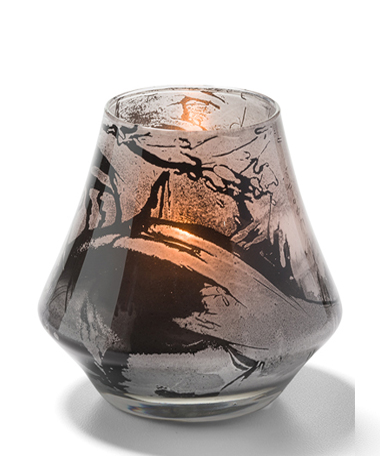 Marbled Black And White Chime™ Glass Votive Lamp