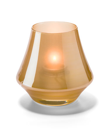 SATIN GOLD CHIME GLASS VOTIVE LAMP