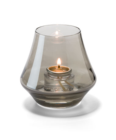 SMOKE LUSTRE CHIME GLASS VOTIVE LAMP