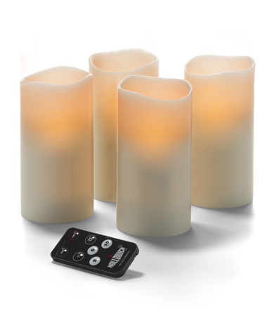 LED Wax Pillar with Remote, Ivory 3